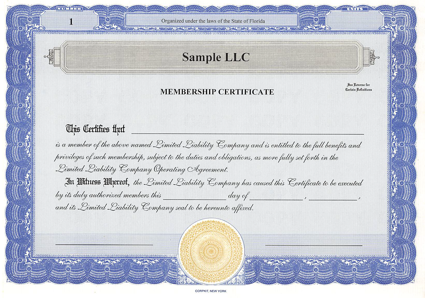Sample LLC Certificate